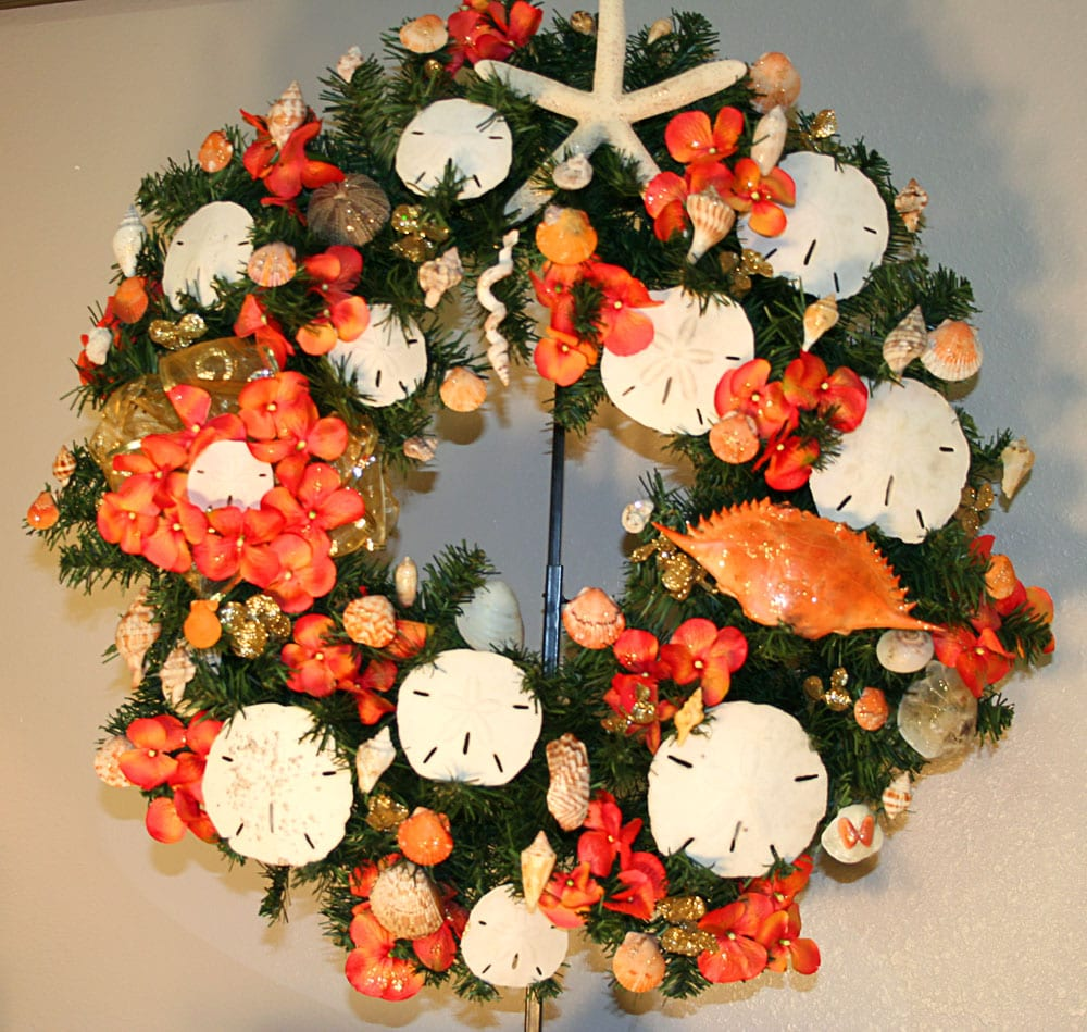 Orange Sand Dollar Wreath